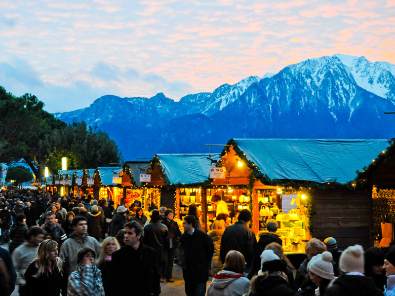 Montreux Christmas Market with Alps in the Back Ground