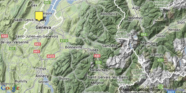 Google Map GVA to French SKi Resorts