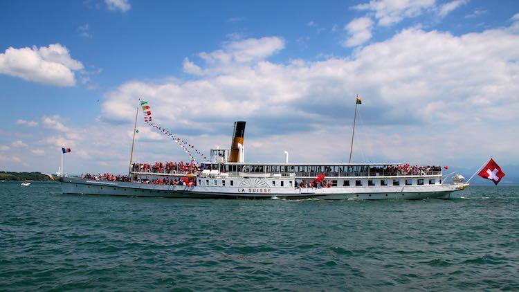 La Suisse paddle steam boat on Lake Geneva