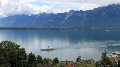 CGN Boat Cruising on Lake Geneva near Montreux, Switzerland