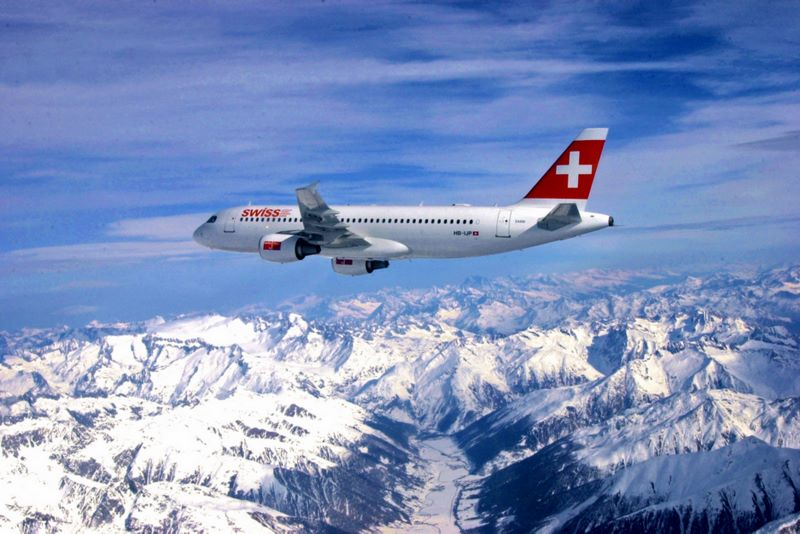 Swiss International Air Lines Plane Flying over the Snow-Covered Alps