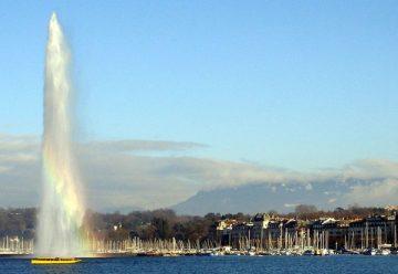 Mouette Waterbus Passing the Jet d'Eau in Genève