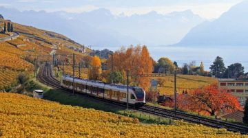 S Bahn Train between Lutry & Cully on Lake Geneva