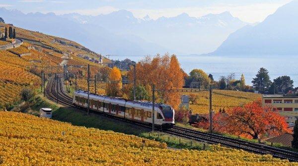 S Bahn Train between Lutry & Cully on Lake Geneva