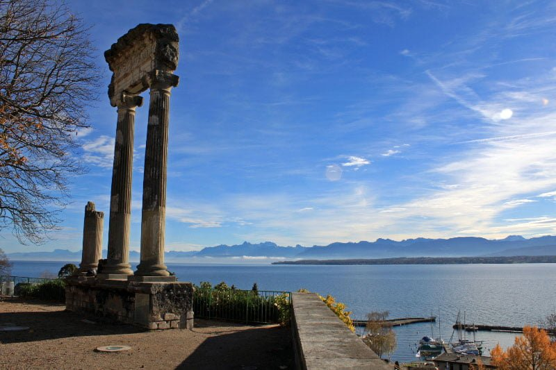 Roman Columns in Nyon with Views of Lake Geneva and the French Alps, Switzerland