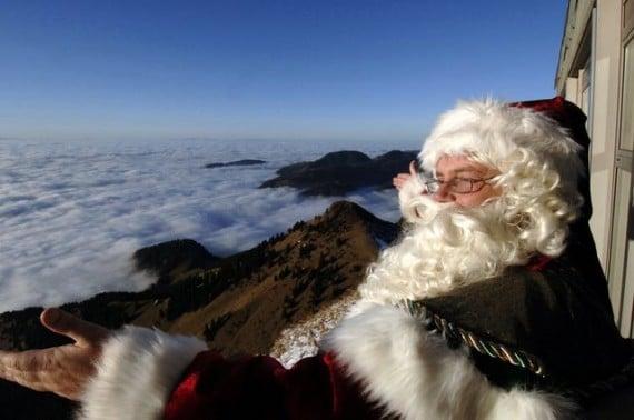Santa Clause on Rochers-de-Naye near Montreux