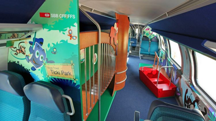 Family Wagon on a Swiss Train  Families with children aged 6 to 16 save big with the Swiss Junior Card or the Children's Co-Travelcard that allows free travel on almost all trains, buses, trams, boats, and cable cars in Switzerland.