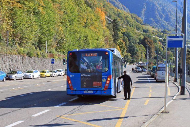 Bus Stop at Chateau de Chillon Castle near Montreux