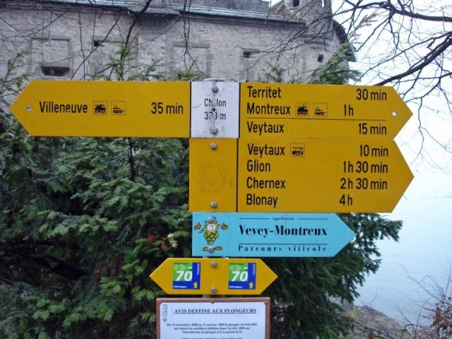 Hiking Route Signs at Chateau de Chillon Castle near Montreux