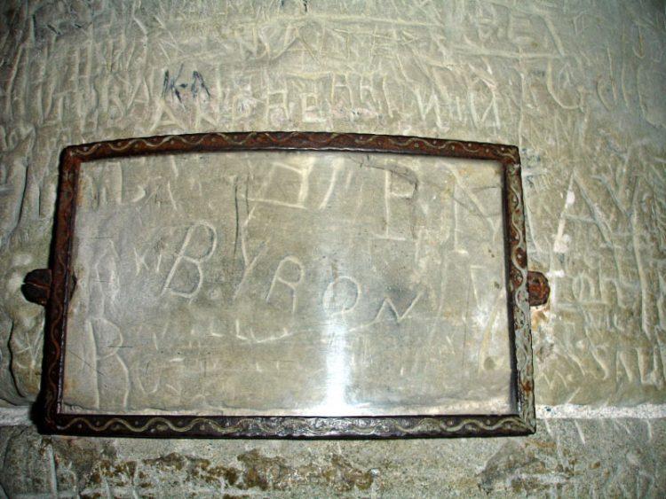Lord Byron Graffiti at Chateau de Chillon Castle near Montreux