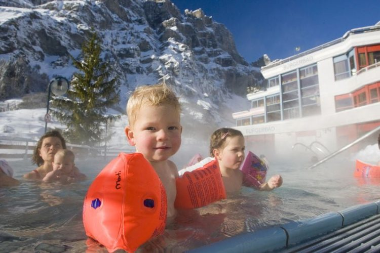 Families in Leukerbad Therme (Burgerbad) in Loeche les Bains