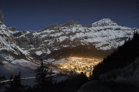 Leukerbad Dorf at Night