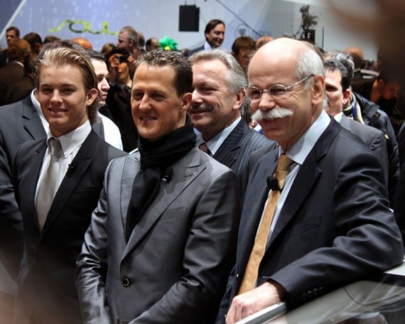Nico Rosberg, Michael Schumacher, and Dieter Zetsche at the Geneva Auto Show, 2010