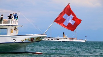 Passenger Ferry Boats on Lake Geneva in Switzerland & France