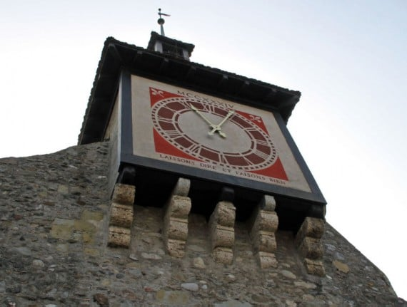 Clock Tower in St Prex on Lake Geneva, Switzerland