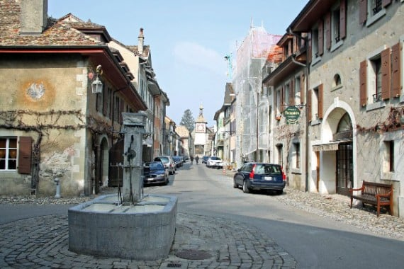 Grand Rue in St Prex on Lake Geneva, Switzerland