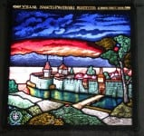 Stained-glass windows showing Medieval St Prex, Switzerland
