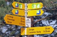 Hiking Signboards in St-Sulpice on Lake Geneva