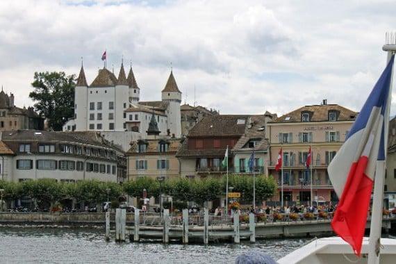Lake Geneva Cruise Boat Approaching Nyon