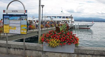 CGN Lake Geneva Cruise Boat at Nyon, which has good ferry services also in spring and autumn to Yvoire