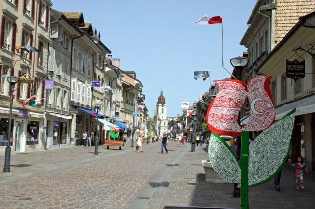Morges Tulip Festival on Lake Geneva, Switzerland