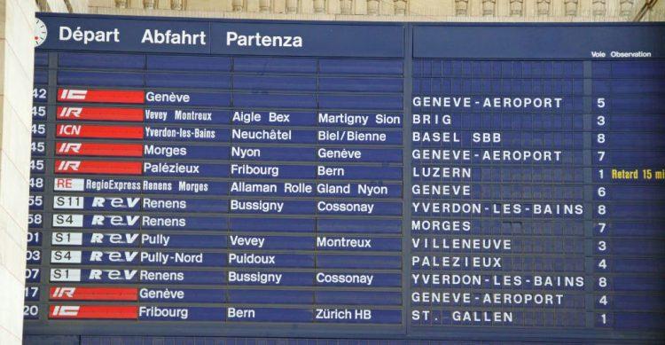 Lausanne Train Station Departures Board, Switzerland