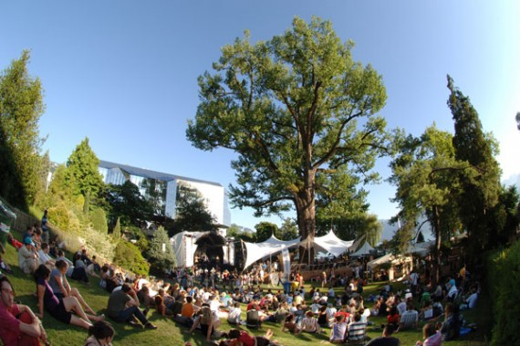 Free open-air concert in the park at the Montreux Jazz Festival in Switzerland