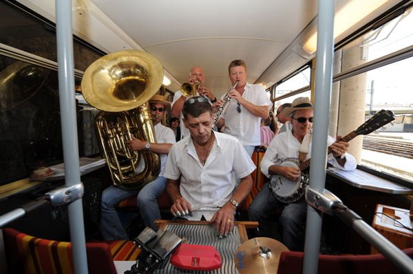 A jazz band playing on a train during the Montreux Jazz Festival