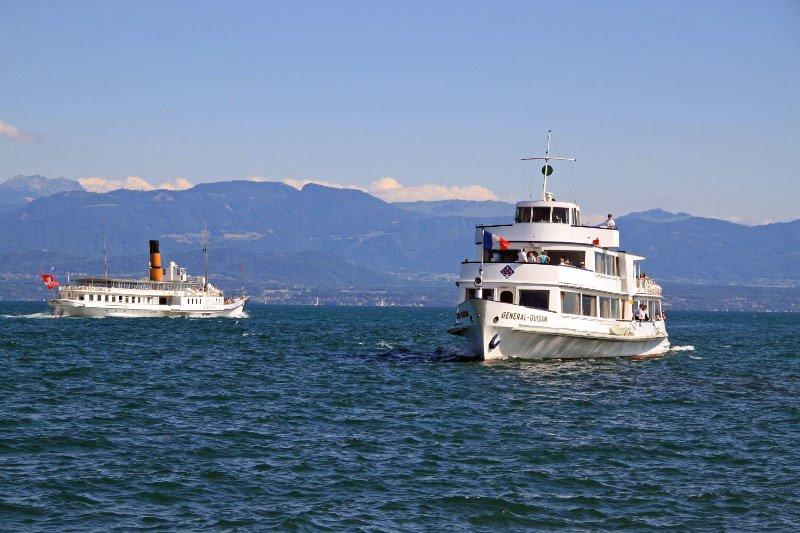 CGN Pleasure Boats Cruising on Lake Geneva