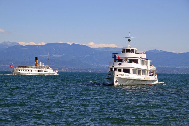 CGN Pleasure Boats Cruising on Lake Geneva