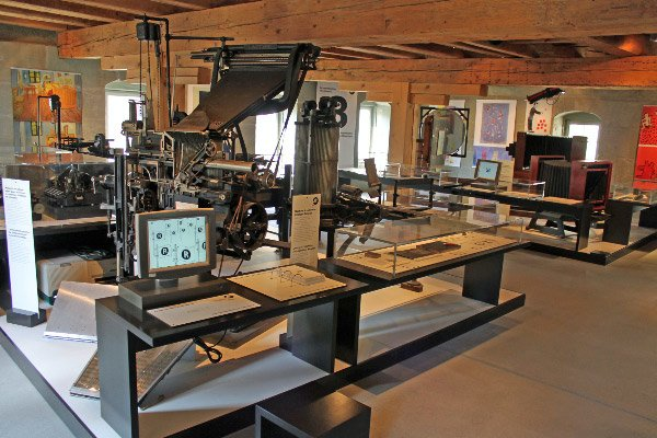 Inside the Gutenberg Museum in Fribourg