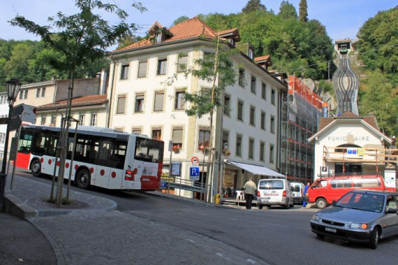 Funicular and Bus in Fribourg