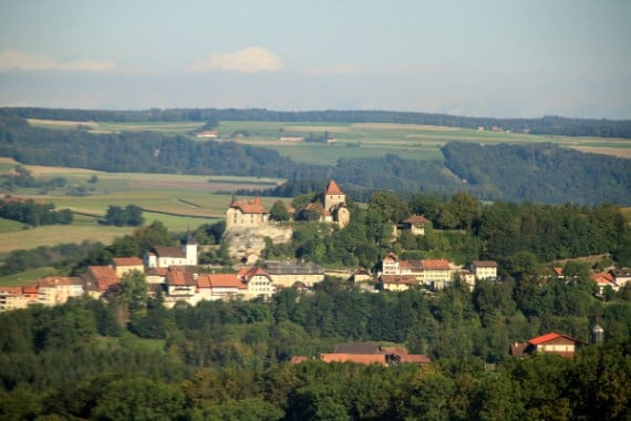 Lucens Town and Chateau Viewed from the Train to Fribourg