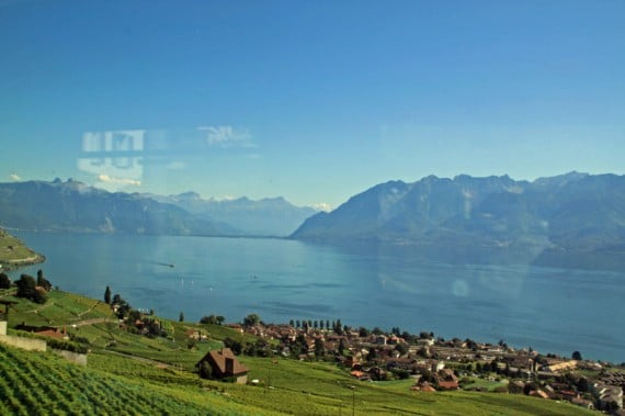 Passing Lake Geneva and the Alps en Route to Fribourg
