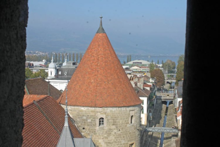 View from the Donjon of Château d'Yverdon Castle