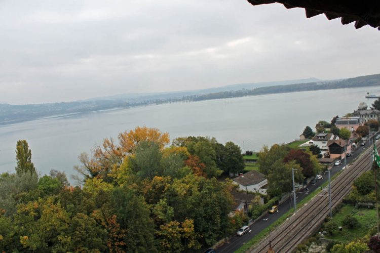 View from Chateau de Grandson Castle towards Yverdon-les-Bains