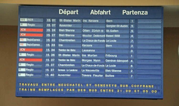 Train Departures Board in Neuchatel