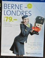 Cheap Bern to London Flights Advertisement in Neuchatel