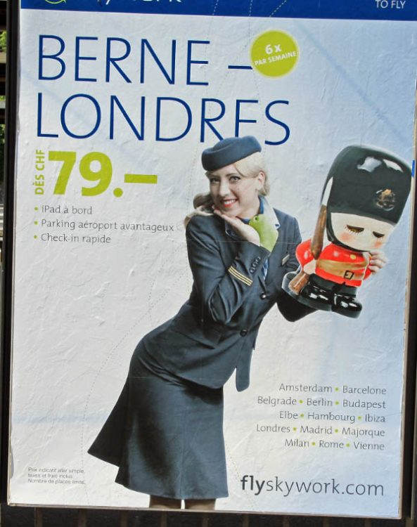 Cheap Bern to London Flights Advertisement in Neuchatel