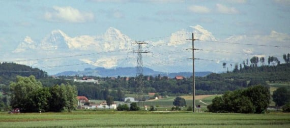 The snow-covered Swiss Alps as seen from the train