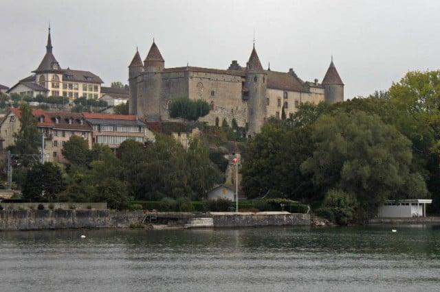 Chateau de Grandson Castle Viewed from Lake Neuchatel
