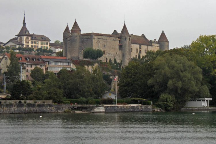Chateau de Grandson Castle Viewed from Lake Neuchatel