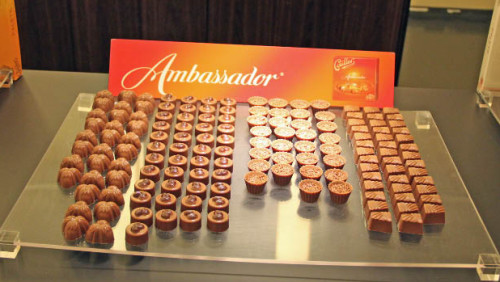 Ambassador Pralines in the Cailler Chocolate Factory in Broc
