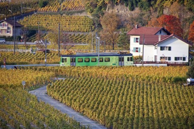 Train near Château d'Aigle Castle in Switzerland