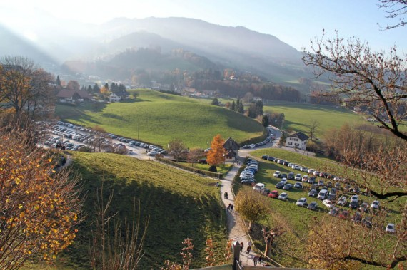 Car Parking at Gruyères in Switzerland