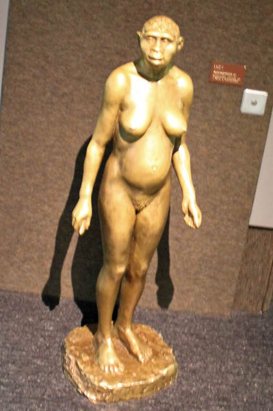A bronze statue of Lucy in the Natural History Museum in Geneva