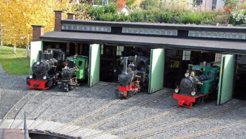 Miniature steam engines in the depot at the Swiss Vapeur Parc