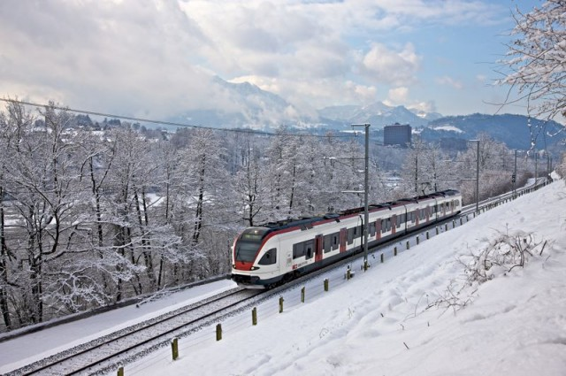 Swiss Railways' Train in the Snow