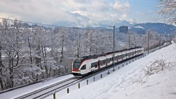 Swiss Railways' Train in the Snow