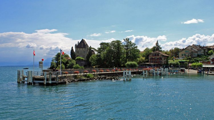 Approaching Yvoire on Lake Geneva, France